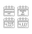 calendars icons set for the independence day vector image vector image