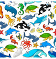 cartoon sea fishes and animals pattern vector image vector image