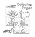 cartoon turtle coloring book maze game vector image vector image