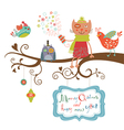 Christmas card cat and birds vector image vector image
