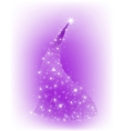 Christmas purple tree with stars vector image