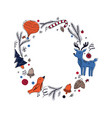 christmas round frame in scandinavian rustic style vector image vector image