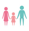 color silhouette set pictogram parents with a girl vector image vector image