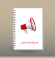 cover of diary red white megaphone symbol vector image vector image