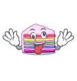 crazy rainbow cake in ice mascot cupboard vector image vector image