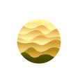desert emblem sand waving dunes yellow vector image