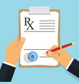 doctor writing notes on a prescription pad vector image vector image