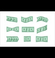 dollar bills nine different options for crumpling vector image vector image