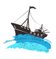 fishing boat on blue wave vector image vector image