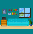 flat retro living room with sofa and window vector image vector image