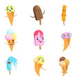 flat set of cute ice-cream characters with vector image vector image