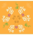 floral patterns on an orange background vector image