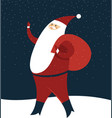 happy santa claus with gift sack vector image