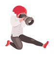 hipster girl photographer with camera vector image