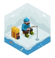 Ice Fishing Winter Activity Vacation Icon Flat vector image vector image