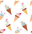 kawaii ice cream cone seamless pattern background vector image vector image
