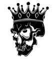 king death portrait a skull with a crown vector image vector image