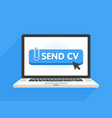 laptop computer with resume template send cv vector image vector image