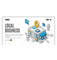 local business isometric landing page start up vector image vector image