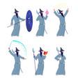 magic wizard character cartoon magicians mystery vector image