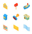 mailing icons set isometric style vector image vector image