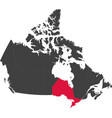 map of canada - ontario vector image