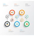 music flat icons set collection of broadcasting vector image vector image