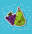 pear and grape fruit kawaii cartoon funny vector image vector image