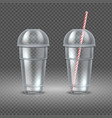 realistic plastic cup transparent coffee vector image vector image