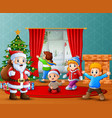 santa claus and some kids celebrating a christmas vector image vector image