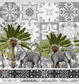 seamless pattern with elephants and tropical trees vector image