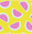 seamless pattern with watermelon in sketch style vector image vector image