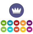 silhouette crown icons set color vector image vector image
