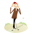 Smiling golfer on the golf course vector image vector image