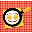 Smiling scrambled eggs with bacon in a pan for vector image