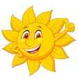 Sun cartoon character with thumb up vector image vector image