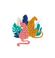tropical exotic animals and birds - leopards vector image vector image