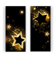 Two banners with gold stars vector image vector image