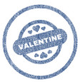 valentine stamp seal rounded fabric textured icon vector image vector image