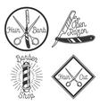 Vintage barbershop emblems vector image vector image