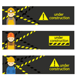 Worker Craftsman with Under Construction Banner vector image
