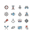 Nautical Sea Icon Set vector image