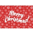 Merry Christmas background with snow on red vector image