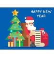 Santa Claus Cartoon Character Tree Bell Gifts List vector image