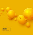 abstract floating spheres background 3d yellow vector image vector image