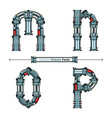 alphabet typography font cartoon robotic style vector image vector image