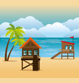 beach with lifeguard tower scene vector image vector image