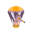 bear with spy glass on hot air balloon stylized