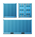 blue cargo container realistic metal vector image vector image