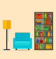 bookcase and armchair interior vector image vector image